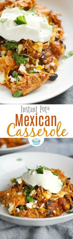 This easy and delicious Instant Pot Mexican Casserole will make the whole family smile. It tastes just like Chicken Enchiladas without all the work! #instantpot #Mexicanfood #chicken via @cookwithcurls