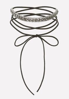 Crystal Velvet Tie Choker