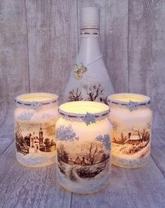 Cheap and Easy Dollar Store Christmas Decorating Ideas – Win.- Cheap and Easy Dollar Store Christmas Decorating Ideas – Winter Scene Lantern Christmas luminaries - Christmas Table Centerpieces, Easy Christmas Decorations, Christmas Candles, Wine Bottle Crafts, Mason Jar Crafts, Simple Christmas, Christmas Crafts, Cheap Christmas, Xmas