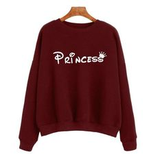 Women Sweatshirts Princess Letter Printed Long Sleeve Women'S Tracksuits Casual Loose Hoodies Polerones Mujer#A11