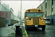 Old School Bus, School Buses, Car Part Furniture, Vintage School, Vintage Cars, New York City, Nostalgia, Nyc, Strong