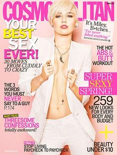 Miley looks smokin' hot on the March 2013 cover of 'Cosmopolitan' magazine. We have a feeling fiance Liam Hemsworth is loving this new photo of Miley braless! Miley Cyrus' Cosmopolitan cover for the March 2013 issue leaked online on Jan. Selena Gomez Miley Cyrus, Miley Cyrus 2013, Beyonce, Rihanna, Hannah Montana, Liam Hemsworth, V Magazine, Magazine Covers, Magazine Photos