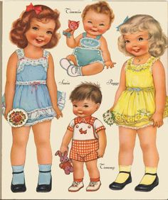 Children in the Shoe ~~ Paper Dolls. Do You Remember Paper Dolls? Print this on cardstock and enjoy this old time favorite with a child. The clothes for these cuties are found in other pins on my board.