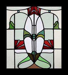 ANTIQUE NOUVEAU STAINED GLASS WINDOWS DECO LEADED LIGHTS