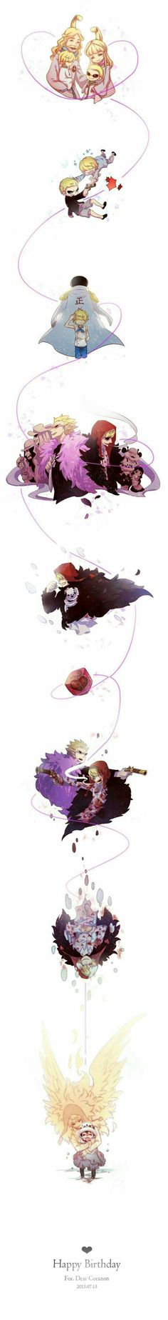 Happy Birthday Corazon, sad, text, crying, young, childhood, different ages, time lapse, timeline, characters, Law, Doflamingo, Donquixote family, Sengoku, Marine, angel, ghost, spirit, wings; One Piece