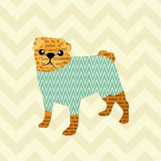 Cute Chevron Pug with Ikat Art Print