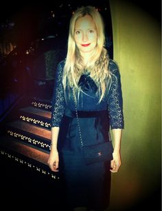 Boden - Fashion stylist Martha Ward looking glam in her Winter Broderie dress in Navy. Great slick of red lipstick.