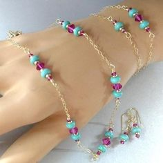 Starter Pack Mix N Match Hot Pink Crystal And Turquoise Summer Jewelry Collection
