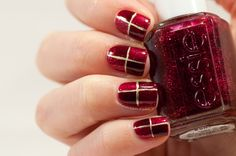 Red block nails #essie Leading lady and Skirting the Issue