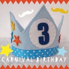 Circo+cumpleaños+Corona++Corona+de+fieltro+de+cumpleaños++por+mosey,+$32.00