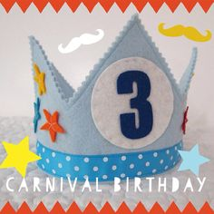 Circus Birthday Crown - Felt Birthday Crown - Stars on Etsy, $32.00