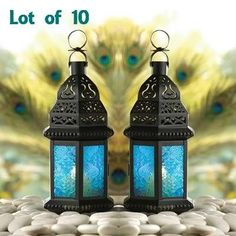 10 Peacock Wedding Blue Glass Candle Lantern Indoor/Outdoor Party Decoration