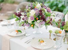 Lavender and Citrus wedding centerpiece   photo by Lavender