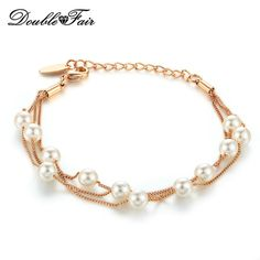 Double Fair 12 Pcs Simulate Pearl Beads Rose Gold Plated Three Layer Chain Bracelets  Women Fashion Jewelry     Sincerely hope that you enjoy the photo. 5855bae645e1