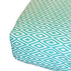 "Oliver B Diamond Crib Sheet - Turquoise/White - Oliver B - Babies ""R"" Us"
