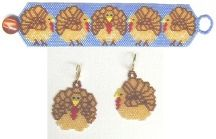 Turkeys on Parade Bracelet and Earrings by Bead Art by Ronin at Bead-Patterns.com