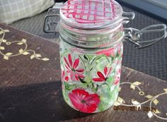 Storage container with red flowers baby breath by ingeborgsorgent, $10.50