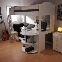 Stompa Casa 4 High Sleeper with Sofa Bed & Pull Out Desk