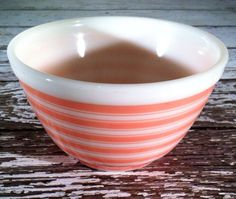 Vintage Pink White Stripe Pyrex Mixing Bowl via Etsy