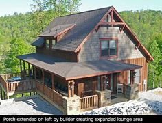 porch wraps on 3 sides on this great mountain home plan. plan 18743CK.