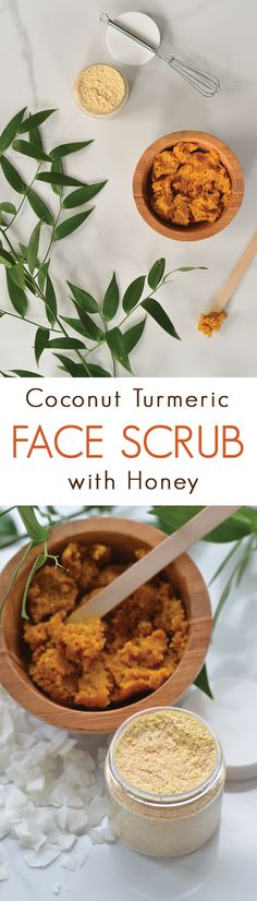 Make your own Coconut Honey Turmeric Facial Scrub: an all-natural scrub with honey and coconut.