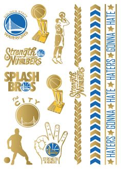 A SHEET FULL OF FUN This tattoo sheet features: - One large single sheet packed with fun designs. - High quality metallic foil that will keep you shining for days. Golden State Warriors Wallpaper, Golden Warriors, Basketball Rules, Basketball Party, Basketball Stuff, Michael Jordan, Steph Curry Wallpapers, Nba Golden State, Splash Brothers