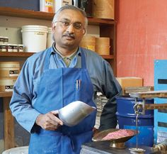 Ali Shaukat, glaze maker and fire man at Heath Ceramics, employee since 1984. To learn more about Heath's facilities in San Francisco and Sausolito, check  out the March 2015 issue of Ceramics Monthly. http://ceramicartsdaily.org/ceramics-monthly/ceramics-monthly-march-2015/