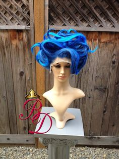 Hades Female Underworld Lace Front Fire Blue Wig by BbeautyDesigns