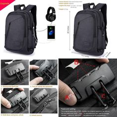 Aptop Backpack Business Travel Bag With Usb Charging Port Headphone And Lock