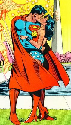 "Superman and Wonder Woman are to get together as a ""power couple,"" publisher DC Comics has revealed. The pair of superheroes are seen kissing on the cover of the latest issue of DC Comics' Justice League. Wonder Woman Kunst, Wonder Woman Art, Wonder Woman Comic, Wonder Women, Wonder Woman Drawing, Wonder Woman Y Superman, Superman X, Batman Art, Batman Robin"