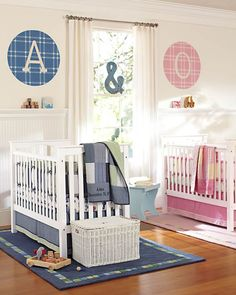 How to Personalize a Shared Nursery | Pottery Barn Kids boy girl twins