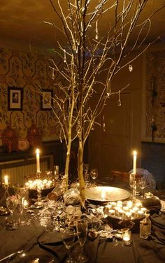 Golden branches. Take any medium sized twig and spray paint it gold then put it in a lovely vase with glass beads <3