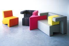 To Gather Sofa Design by Studio Lawrence. Love these colorful, fun modular pieces ! Modular Furniture, Furniture Plans, Kids Furniture, Modern Furniture, Outdoor Furniture Sets, Furniture Design, Upholstered Furniture, Multifunctional Furniture, Modern Sofa