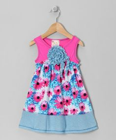 Take a look at this Fuchsia & Turquoise Daisy Blossom Dress - Toddler & Girls by Pink Vanilla on #zulily today!