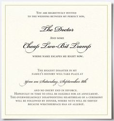funny wedding invitation wording from bride and groom template