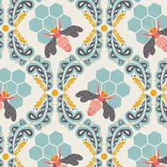 BEE DESIGN ON PREMIUM COTTON An utterly gorgeous design! Blue honeycomb blooms and ornate bumble bees buzz about this lyrical repeat.