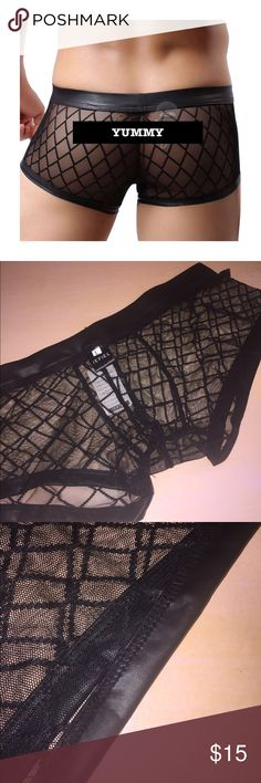 JUST IN SEXY PANTIES FOR MEN Black panties w a faux trim at waist and legs. Gorgeous. Well made new w tags. Waist is 15 in across laying flat.  IT DOES NOT SAY YUMMY! I put that there  Underwear & Socks Briefs