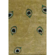 Update your living space with this sage green wool rug. Featuring bold peacock feathers with hand-carved eyes on a sage background, this hand-tufted wool rug will brighten any area and provide a conversation starter for visitors to your home or office. Sage Green Rug, Green Wool, Peacock Colors, Green Peacock, Peacock Feathers, Peacock Pattern, Throw Rugs, Colorful Rugs, Casablanca