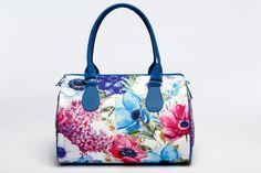 Flower Printed Summer Handbag for Women. Blanche Barrel Bag for Ladies, Unique Designer Handbag with Flower Print, White Summer Handbag 5012 by MyBrightBag on Etsy