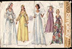 Simplicity 9260 Vintage 1970s Wedding Dress Pattern B36