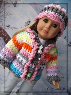 I Want Candy  Sweater and Hat set  American Girl Doll by GillyGals