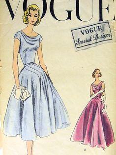 VOGUE SPECIAL DESIGN 4732 PATTERN 1950s EVENING DRESS 2 LENGTHS, DRAPED SHOULDER, CURVED INSET SECTIONS, GODET FULLNESS FROM HIPLINE, STUNNING STYLE