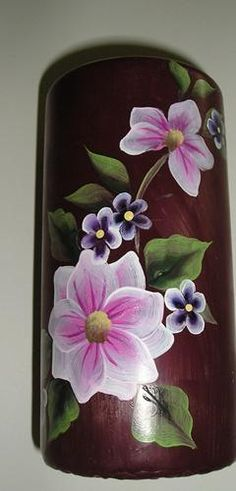 Custom Painted Candles One Stroke Flowers Animals Decor Art Class Lori Florida