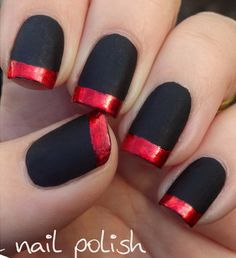 Matte Black with Red Foil Tips Manicure.
