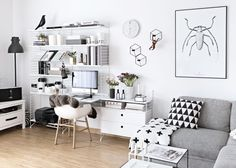 String shelving with desk in Scandinavian living room