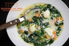 Ciorba de salata verde cu leurda si oua de prepelita. Soul Food, Ramen, Food To Make, Easy Meals, Cooking, Ethnic Recipes, Romania, Fashion, Romanian Recipes