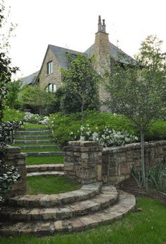 Love the curved stone steps