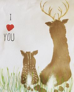 Make your own daddy and baby deer footprint art painting! All you need is acrylic paint, paper (I used canvas fabric), cotton ball, footprints for deer, fingerprints for ears & heart. Great idea for Father's Day! And dads facial expression when you tell h