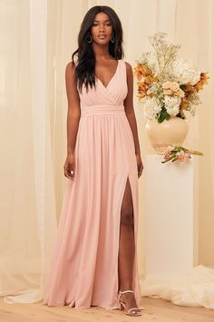 100+ Dresses Perfect for Wedding Guests | The Perfect Palette Blush Pink Maxi Dress, Pink Gowns, Blush Dresses, Pretty Dresses, Lace Dress, Backless Maxi Dresses, Prom Dresses, Creative Wedding Inspiration, Wedding Ideas