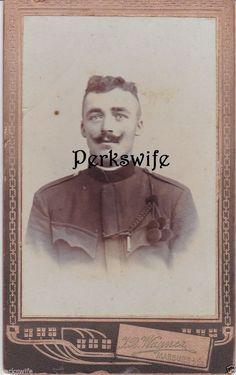 CDV Carte de Visite Photograph Handsome European Soldier Man Marburg Burggasse 4